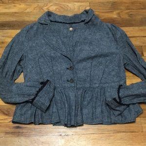 Free people BoHo jacket black blue 2 button front